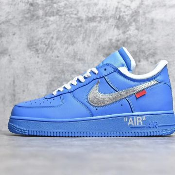 "Nike耐克 纯原版本OFF-WHITE x Nike Air Force 1 ""MCA"" 蓝银勾 N1003 K款"